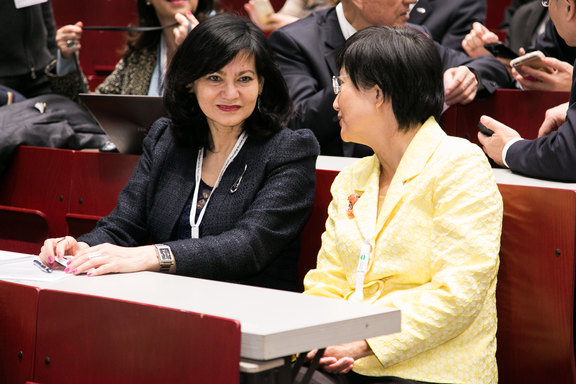 Altyn Aringazina and Shu-Ti Chiou are discussing the topics of the first plenary.